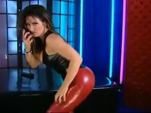 Red latex leggings, Black latex top