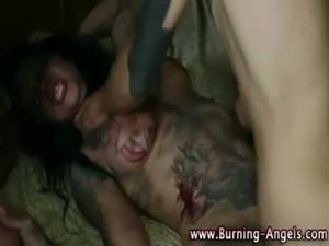 Tattooed fetish whores love fucking free
