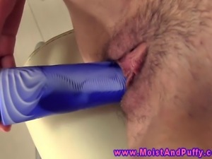 Camel clit babe uses a dildo on herself