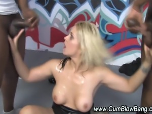 Black cock loving slut interracial gang bang blowjob bukkake
