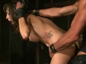 brunette fucked in bondage