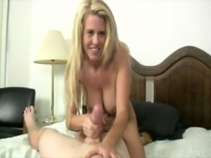 Hot blonde mature beating off young dude in the bedroom free