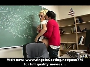 Hot blonde teacher has pussy licked and does blowjob for student
