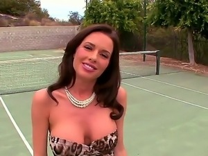 Horny milf Veronica Avluv gets seduced while playing tennis by horny male...