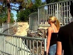 Beautiful blonde Brooke Banner with sexy tattoos enjoys sucking in public places