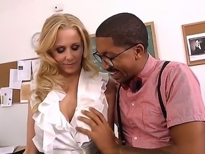 Black stud Ethan Hunt relaxes by having hot blonde Julia Ann deep fucking and...