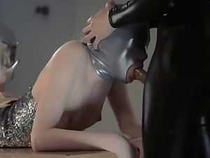 amazing strapon lesbians in mask playing