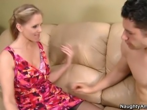 His friend's beautiful mom Julia Ann takes off her pink