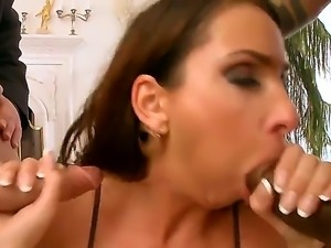Delicious tasty babe Lisa Sparkle gets her love tube penetrated hard with two...