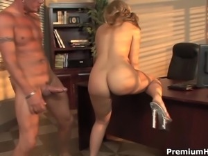 Slutty big boobed blonde secretary Aubey Addams is ready to