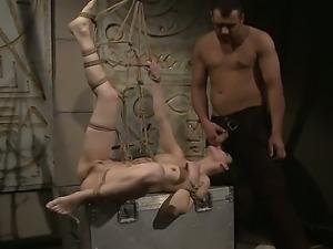 Bound horny slut Aleksandra Black gets tortured sweet by her hot master Antonio