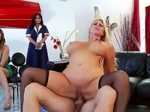 Mature blonde Karen Fisher is having a great time pleasing and sucking young...