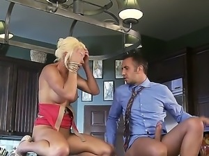 The appetizing blonde pornstar Rhylee Richards with a big tits makes a...