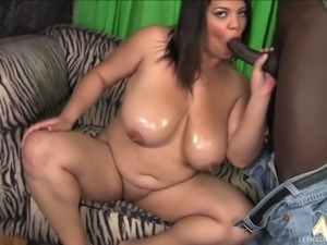 Chubby brunette Lady Spyce with fat big ass and oiled