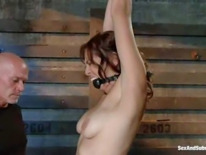 attractive slave lady Audrey Rose with nice natural tits gets