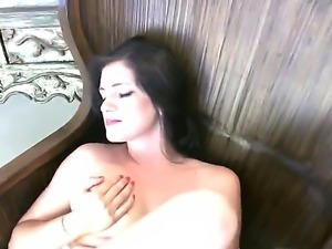 The awesome brunette Brook with the natural boobs masturbates her hungry...