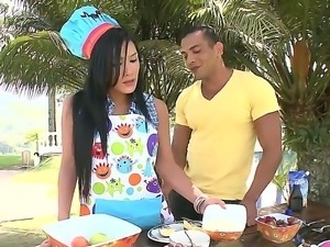 Celeste cooking naughty outdoors! Slender brunette got help from naughty...