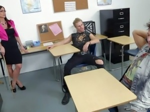 Busty dark haired and really turned on teacher Kendra Lust