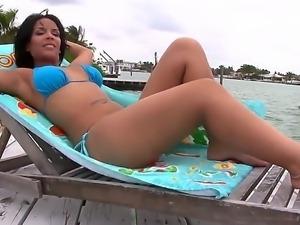 Big ass brunette sexy Elena Heiress enjoys one hard solo masturbation scene