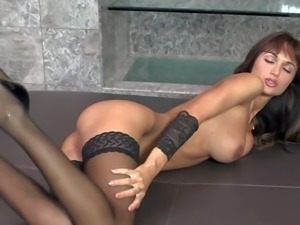 Adorable brunette Roxanne Milana with massive boobs fucks herself with