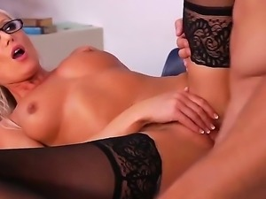 Four eyed blonde Diana Doll passionately fucking at work with Johnny Castle...