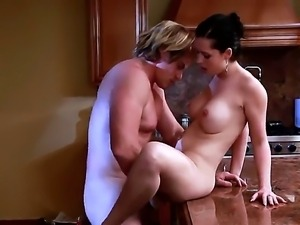 Evan Stone bangs hot student Angell Summers right over the kitchen table