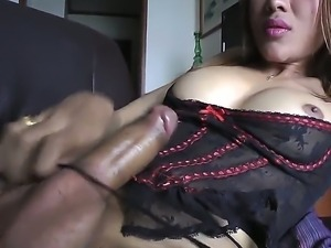 The hot and dirty masturbates with the fantastic Asian she-male Apple in...