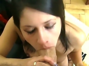 Slutty brunette Connie A gives stunning blowjob to horny guy Rocco Siffredi