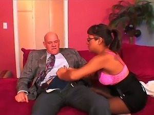 Sexy school girl Jasmine Byrne needs netter grades at schools and fucks his...