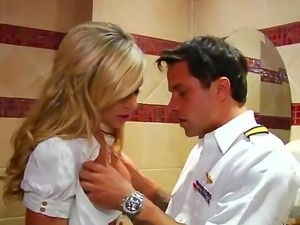 Blonde stewardess suck