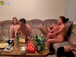 Hot and dirty teen foursome with the sympathetic teens Dana, Janet, Kristene,...