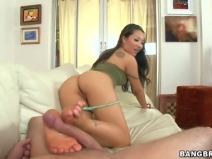 Famous flexible black haired asian babe Asa Akira with firm