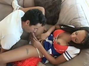 Bronze skinned shemale Sunshyne Monroe with perfect big tits and