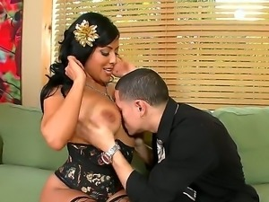 Handsome Cris Commando is getting a wet blowjob session from volumptous Kiara...