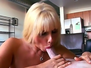Super busty and horny blonde milf, named Karen Fisher, doesnt want gentle...