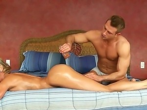 Bill Bailey presents amazing oil massage for her girlfriends best friend...