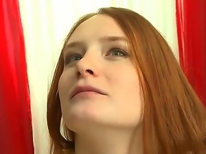 Redhead Denisa Heaven take on a huge cock and smashed her tight pussy with it