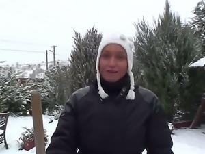 Sexy siren pornstar Kathia Nobili is having fun playing with the outdoors snow