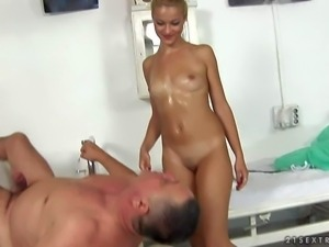 Whorish tanned blonde nurse with natural boobies and cheep make