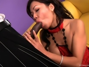 asian milf blows black guy