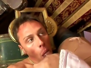 Gorgeous shemale Carolina Mancini gets her rock hard pecker licked by...