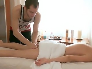 Perfect skinned babe Ema surprises this handsome masseur with her elegant...