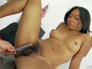 Ebony milf Anita Peida with sexy perky tits spreads her