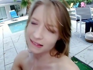 Blonde beauty Alyssa Branch takes everything off and starts playing with guys...