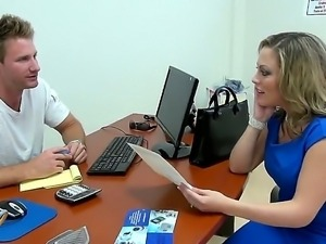 Amazingly hot secretary pleases young stud with an awesome deep blowjob