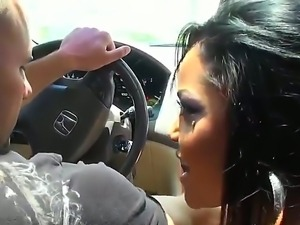 Brunette hottie Allee Mack pleases horny hunk Jmac with a full car blowjob