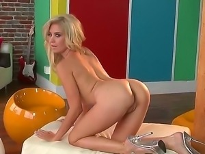 Check out with delicious spicy blonde chick showing her pretty boobs and...