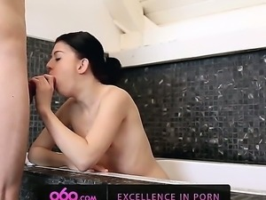 Savoury babe LollyPop takes a shower and stimulates her shaved soaking pussy...