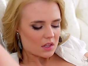 Gentle blonde babe Ema takes off her sexy lingerie and masturbates with a...