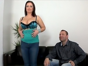 Glorious alluring brunette chick Sirale with huge melon tits succeed in...